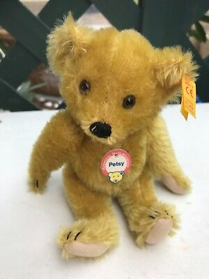 Vintage STEIFF bear 16cms Petsy Historic Miniature  with  button in ear