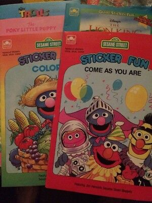 5 Golden Sticker Fun Books LOT Lion King Trolls Sesame Street Poky Little Puppy