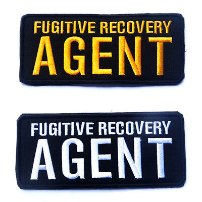 2 Pcs Fugitive Recovery Agent Army Tactical Morale Badge Embroidered Hook Patch