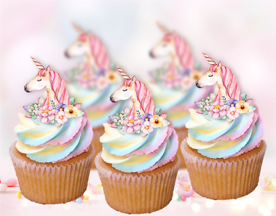 15x whimsical unicorn pink horn EDIBLE cupcake cake toppers fairy birthday 1st