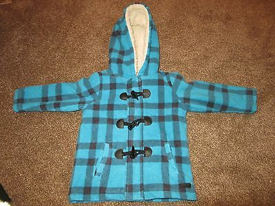 Baby Boys John Rocha Coat 18-24 Months Blue Check Fleece Hooded Warm Soft Lined