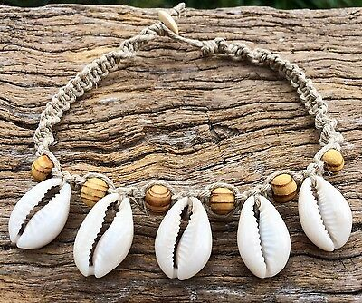 Hand Made Hemp Macrame Shell Anklet with Cowrie Shells With Timber Beads