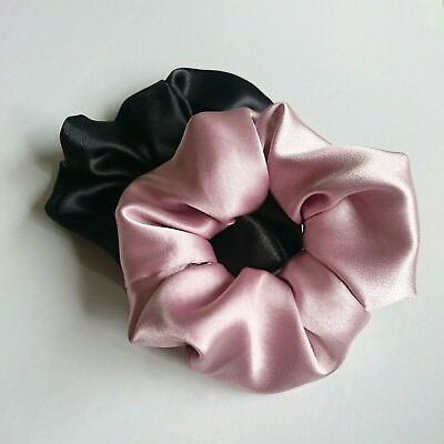 silky satin quality HANDMADE hair scrunchie elastic ponytail pink black wide