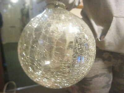 "RARE Antique Victorian Crackle mercury  glass XMAS BAUBLE Ball (HUGE)  8 ""720g"