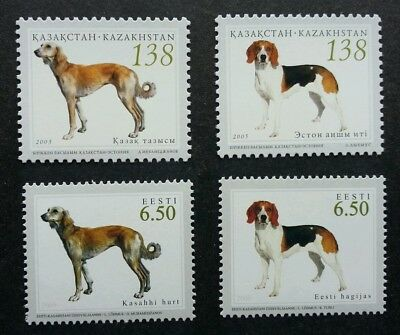 Kazakhstan Estonia Joint Issue Hunting Dogs 2005 Pet (stamp pair) MNH