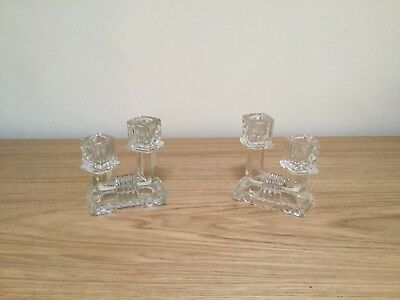 Glass Candlesticks Pair
