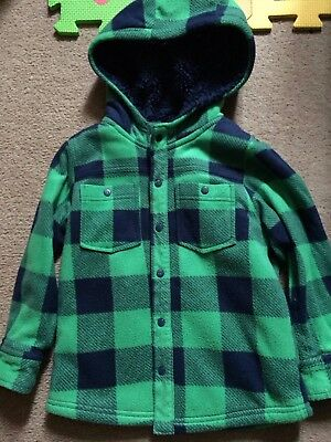 3-4 Boys Green & Navy Check Fleece Hooded Shirt - Next