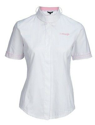 REDUCED  JUST TOGS Sofia Show Shirt White, 3 in 1 collar, size UK8, rrp ~ £29