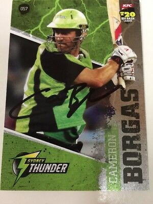 Cameron Borgas 2012 Hand Signed Autographed Sydney Thunder BBL Cricket Card