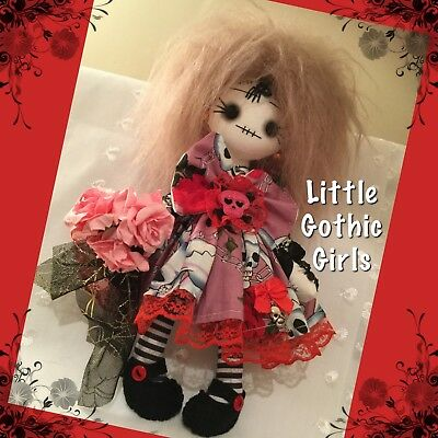 """Quincy the 8"""" Gothic hand made rag doll by Little Gothic Girls"""