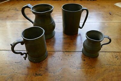 4 Antique Pewter Tankards