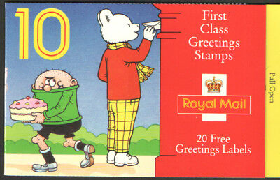 1993 SG KX5 10 X 1st CLASS GREETINGS STAMPS BOOKLET RUPERT CYLINDER NUMBERS