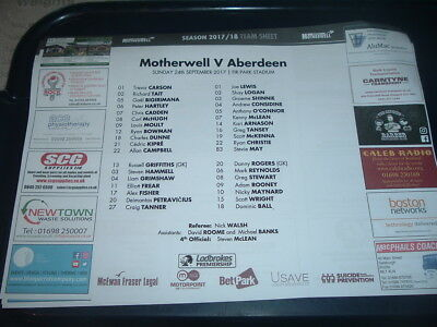 Motherwell v Aberdeen 24th Sept 2017 colour team sheet