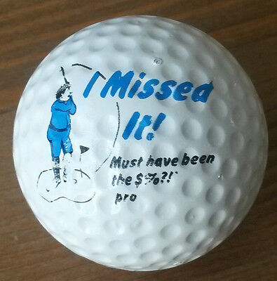 """Vintage Golf Ball 1980s printed with an image of a golfer """"I Missed It!"""""""