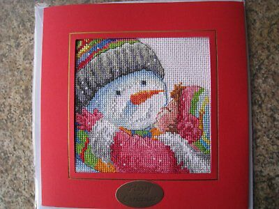 "Completed cross stitch xmas card - 7.5""x7.5"" - Snowman and Girl"