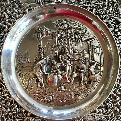 Antique Dutch St. Silver Repousse Filigree Floral David Teniers Scene Platter