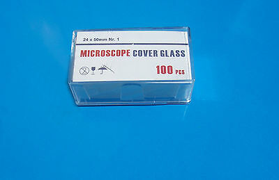 COVER SLIPS for microscope slides 100x (approx) - 24mm x 50mm suits Aquariums
