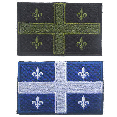2 Pcs Canada Quebec State Flag Qc Can Army Morale Badge Tactical Hook Loop Patch