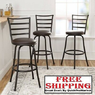Set of 3 Bar Stool Swivel Metal Height Counter Adjustable Pub Chair Furniture