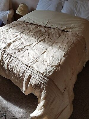 Laura Ashley champagne pleat and pearl bed spread