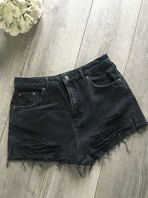 Black Ripped TOPSHOP denim Mom Shorts Size 14