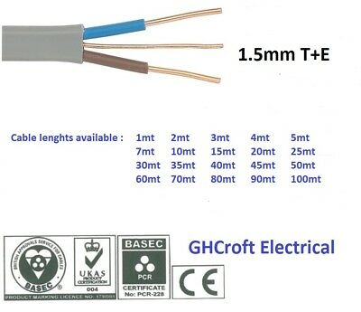1.5 mm Twin and Earth T&E Electric Cable Wire | 6242Y | Various lengths | BASEC