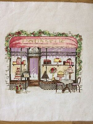 Completed French Bakery Cross Stitch