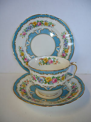 Lovely Antique CROWN STAFFORDSHIRE 'Lyric' Floral Cup Saucer Plate c.1945