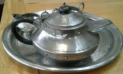 Vintage 1920s Pewter Tea set. Abbey Pewter. Sheffield, England. Hand Hammered