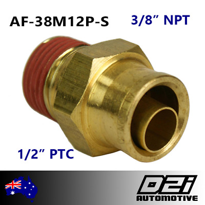 """3/8"""" NPT 1/2"""" PTC Push Air Fitting Airbag Suspension DOT Approved BRASS"""