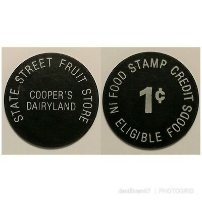 Food Stamp Credit 1c Token State Street Fruit Store (Florence, MA)