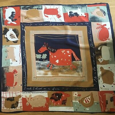 Lovely Vintage I Wish I Lived On A Farm Large Silk Scarf Hand Sewn Hems
