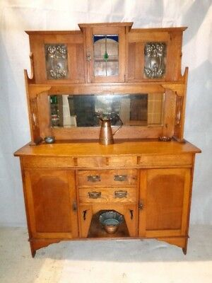 ANTIQUE ARTS & CRAFTS SCOTTISH SCHOOL OAK SIDEBOARD & COPPER PANELS c1890-1910