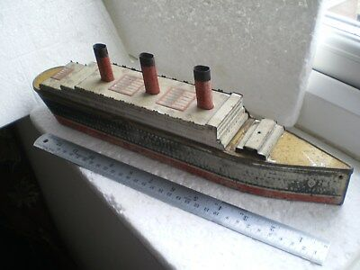 "Vintage Crawfords Biscuit Tin In The Form Of An Ocean Liner ""berengaria"""