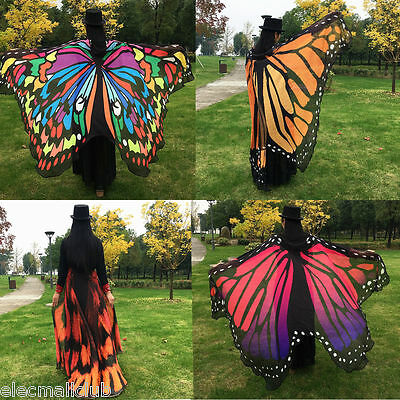 Beauty Lady Women Colorful Long Butterfly Wing Cape Dress Soft Scarf  Wrap Shawl