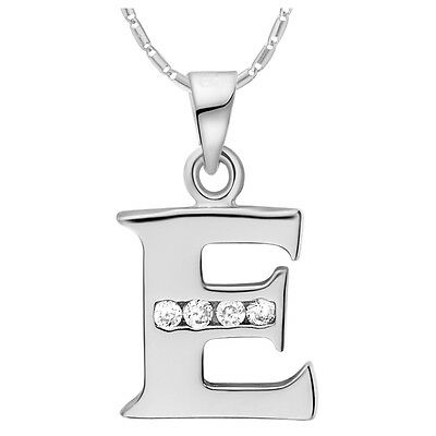 Solid 925 Silver Jewelry Letters Pendant Necklace E