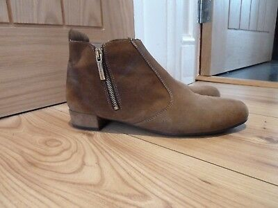 Ladies  Russell and bromley tan suede ankle boots size 42