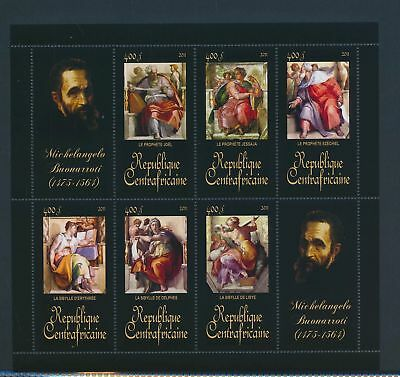 XA82107 Central Africa 2011 Michelangelo Buonarroti art paintings XXL MNH