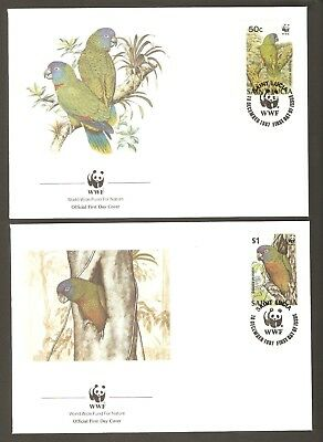 1987  ST. LUCIA  -  4 x WWF FIRST DAY COVERS  -  AMAZON  PARROT