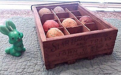 Vtg. Wooden Star Egg Carriers & Trays by John G. Elbs - Rochester, NY - 12 slots