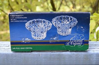 New Pair Of Cristal D'arques 24% Lead Crystal Cheverny Candle Holders