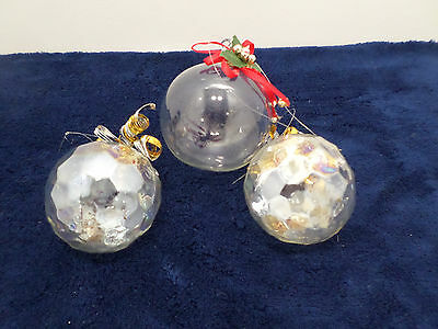 Christmas Ornaments Clear Glass Bulbs Vintage Lot of Three