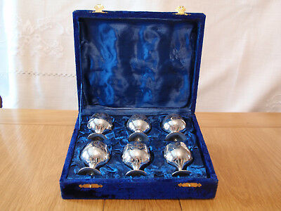 6  silver plated engraved Wine Goblets cups (wine glasses) antique vintage