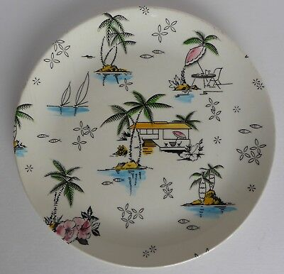 """Vintage 1950s South Pacific 9"""" Plate by Barker Bros Royal Tudor Ware"""