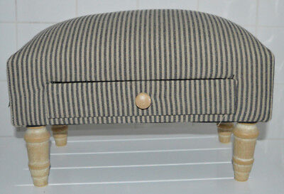 Vintage Black and Beige Striped Style Fabric Storage Footstool Ottoman Pouffe