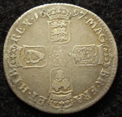 1697 William III Scarce Chester Mint Shilling