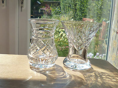 Pair of Gorgeous Lead Crystal Glass Vases
