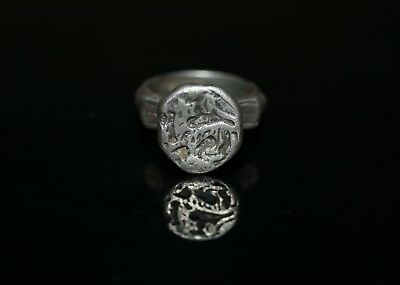 Fabulous 14th C. Medieval Solid Silver Retainers Ring. Bird over Lion.