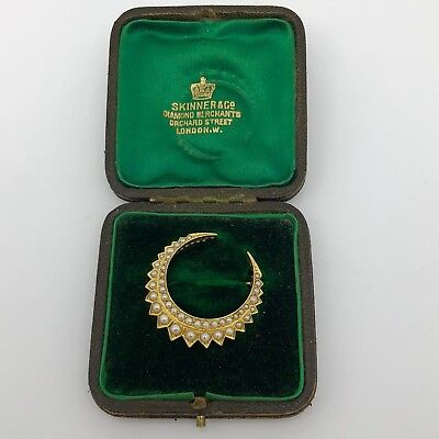 A Great Boxed Victorian Circa 1890 15ct Yellow Gold Split Pearl Crescent Brooch