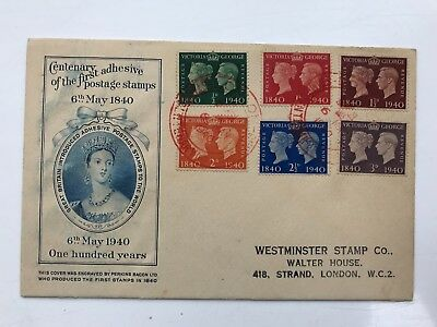 First Day Cover 6th May 1940 Centenary of the first adhesive postage stamps